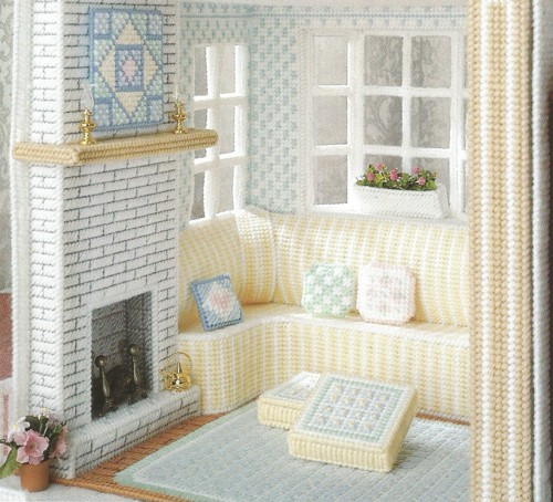 Plastic Canvas Fireplace