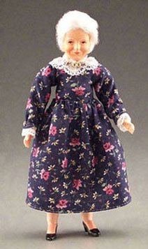 Dollhouse Grandma with Print Dress