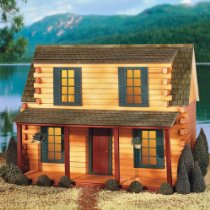 Your log dollhouse beside a quiet lake.